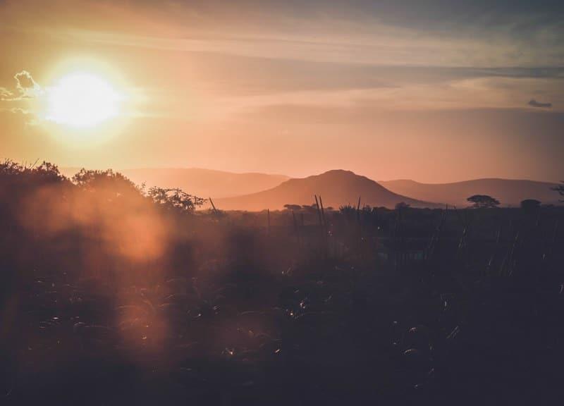 Coucher de soleil savane
